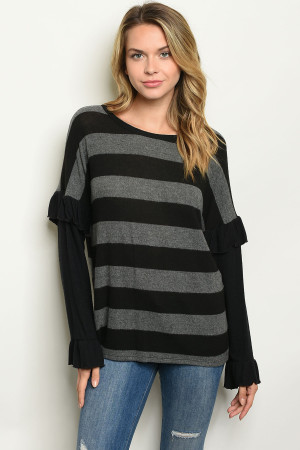 C7-B3-T3020 BLACK STRIPES TOP 2-2-2