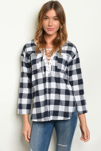 S9-17-2-T9155 NAVY WHITE CHECKERED TOP 2-2-2