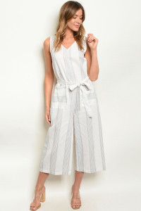 S10-7-4-J3425 WHITE GRAY STRIPES JUMPSUIT 2-2-2