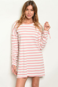 S22-4-2-D3616 MAUVE STRIPES DRESS 2-2-2