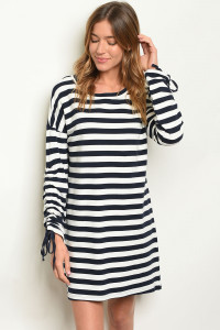 S9-16-3-D3616 NAVY STRIPES DRESS 2-2