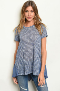 C71-A-1-T8249 INDIGO STRIPES TOP 1-2-1