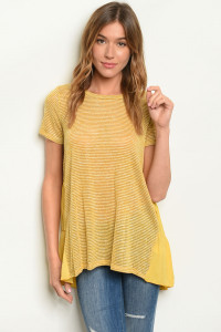 C70-A-4-T8249 MUSTARD STRIPES TOP 2-2-2