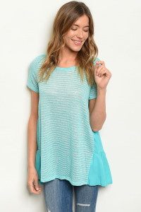 C72-A-4-T8249 AQUA STRIPES TOP 2-2-2
