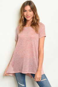 C71-A-1-T8249 MAUVE STRIPES TOP 1-1-2