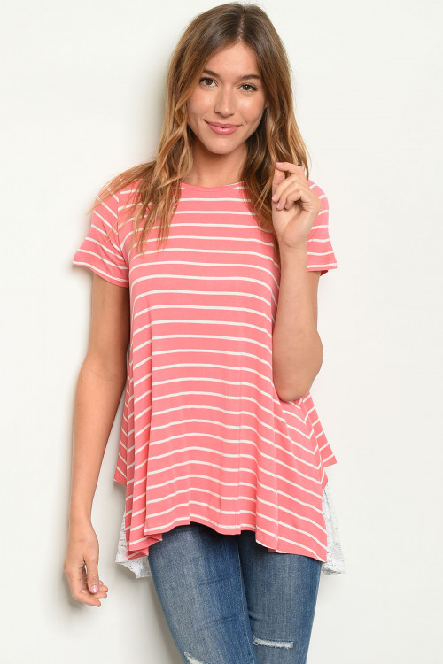 C86A-2-T8482 CORAL STRIPES TOP 2-2-2