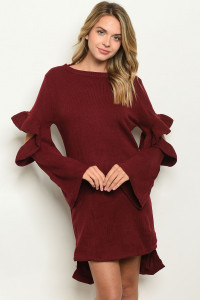 S12-5-2-D124846 BURGUNDY SWEATER 3-2-1