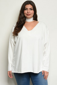 C8-B-3-T6171447X IVORY PLUS SIZE TOP 3-3
