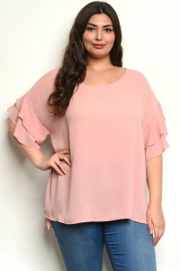 C18-B-7-T647246X ROSE PLUS SIZE TOP 3-2-1