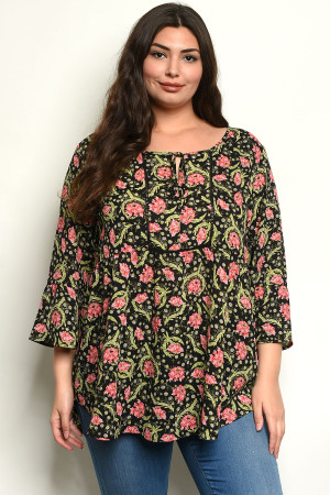 C22-B-3-T8419133X BLACK WITH FLOWER PRINT PLUS SIZE TOP 3-2-1