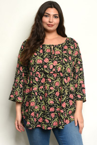 C13-B-1-T8419133X BLACK WITH FLOWER PRINT PLUS SIZE TOP 3-3-2