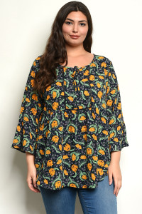 C24-B-3-T8419133X NAVY WITH FLOWER PRINT PLUS SIZE TOP 3-2-1
