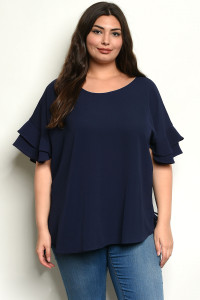 C39-A-5-T649725X NAVY PLUS SIZE TOP 3-2-1