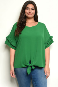 C23-B-3-T810125X GREEN PLUS SIZE TOP 3-2-1