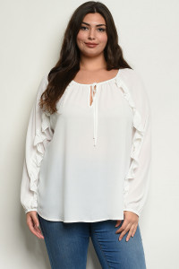 C19-B-6-T843946X IVORY PLUS SIZE TOP 3-2-1