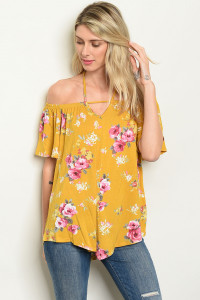 C79-B-1-T6420 MUSTARD FLORAL TOP 2-2-2