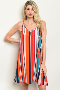 S20-12-4-D737 ORANGE MULTI STRIPES DRESS 2-2-2