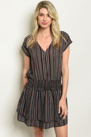 S20-7-3-D13947 BLACK MULTI STRIPES DRESS 3-2-1