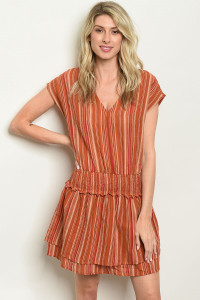 S13-6-2-D13947 BRICK STRIPES DRESS 3-2-1
