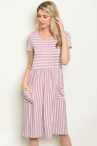 C79-A-3-D0736 LAVENDER STRIPES DRESS 2-2-2