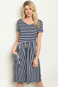 C77-A-4-D0736 NAVY STRIPES DRESS 2-2-2