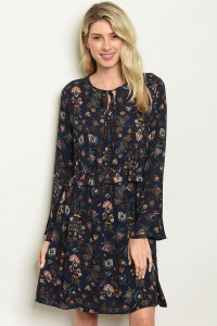 C67-A-2-D152 NAVY WITH FLOWER PRINT DRESS 2-2-2