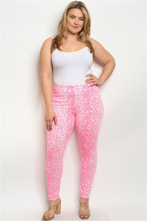 C41-A-3-P0897X NEON PINK ANIMAL LEOPARD PRINT PLUS SIZE PANTS 2-2-2