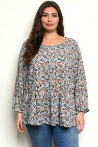 S23-11-3-T6404371X BLUE FLORAL PLUS SIZE TOP 2-1