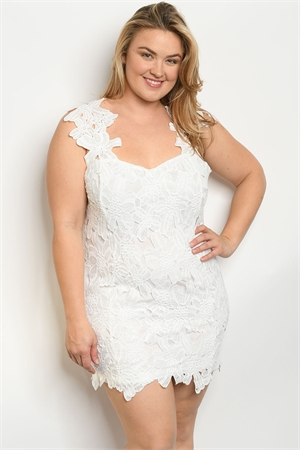 S5-3-2-D9597X WHITE PLUS SIZE DRESS 2-2-2