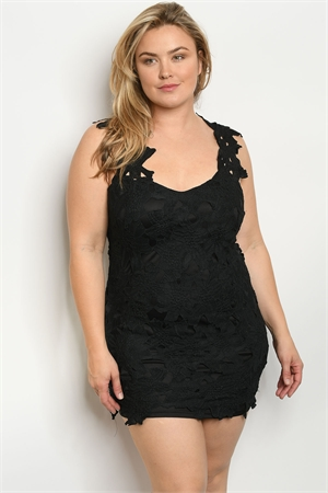 S5-3-3-D9597X BLACK PLUS SIZE DRESS 2-2-2