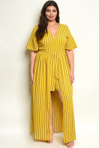 S5-2-3-R10041X YELLOW STRIPES PLUS SIZE ROMPER 2-2-2