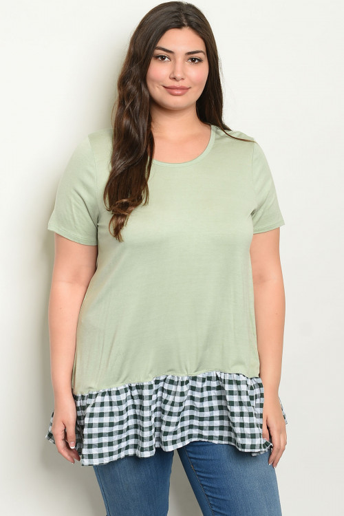 C18-A-3-T12026X SAGE CHECKERED PLUS SIZE TOP 3-2-1
