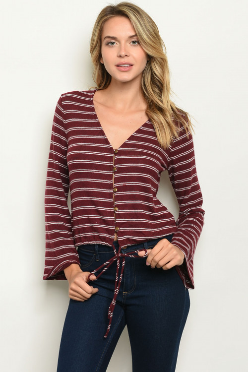 S10-2-1-T57625 BURGUNDY STRIPES TOP 3-2-1