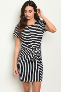 S18-7-3-D3616 BLACK WHITE STRIPES DRESS 3-2-1