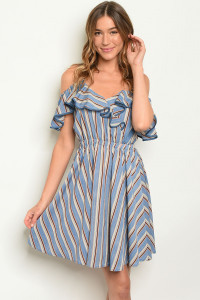 S24-6-2-D1328 BLUE STRIPES DRESS 2-2-2