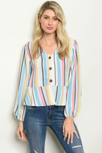 C98-B-5-T73334 BLUE MULTI STRIPES TOP 2-2-2