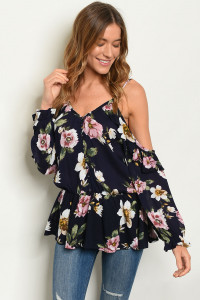 S19-2-5-T20400 NAVY FLORAL TOP 2-2-2