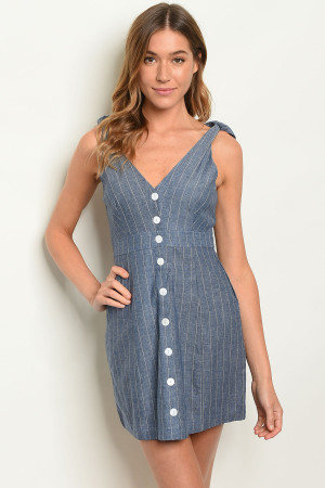 S9-1-1-D1888 DENIM STRIPES DRESS 3-2-1