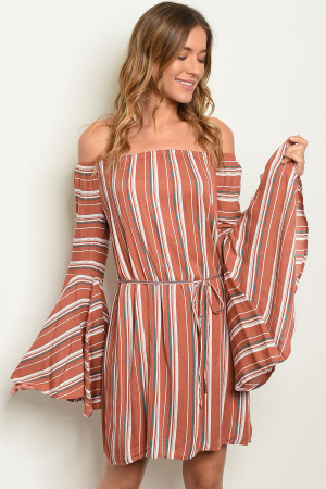 S11-18-5-D9887 BRICK STRIPES DRESS 2-2-2