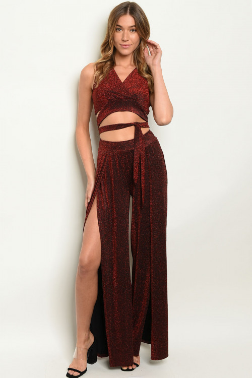 S8-3-5-SET9466 BURGUNDY WITH SHIMMER TOP & PANTS SET 2-2-2  ***WARNING: California Proposition 65***