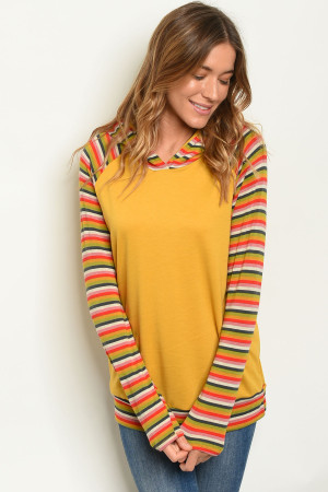 C6-B-6-T4269 MUSTARD STRIPES TOP 2-2-2-1