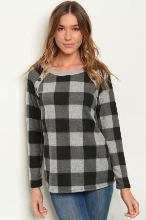 C42-B-5-T4071 BLACK GREY CHECKERS TOP 2-2-2-1