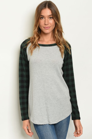 C42-B-5-T4018 GREY GREEN CHECKERS TOP 2-2-2-1