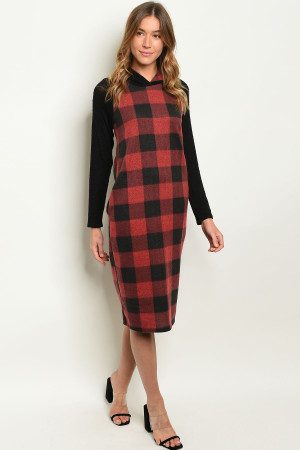 C24-A-6-D3920 BLACK RED CHECKERS DRESS 2-2-2-1