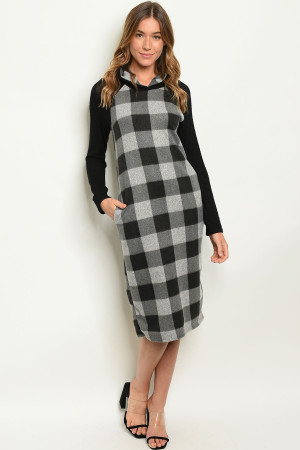 C30-A-3-D3920 BLACK GREY CHECKERS DRESS 2-2-2-1