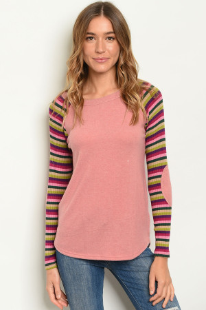 C42-B-6-T4298 MAUVE STRIPES TOP 2-2-2-1