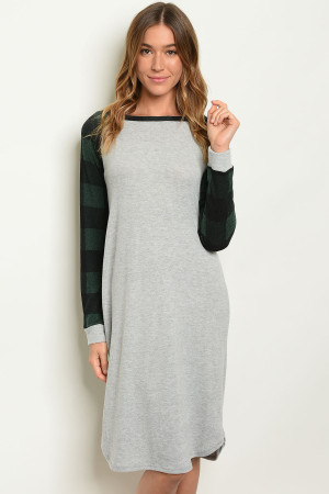 C55-A-4-D3034 GREY GREEN CHECKERS DRESS 2-2-2
