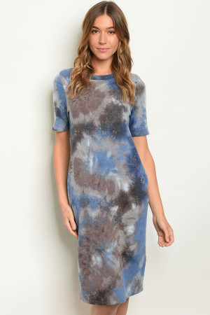 C61-A-3-D3449 BLUE TYE DYE DRESS 2-2-2