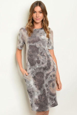 C56-A-7-D3449 GREY TYE DYE DRESS 2-2-2