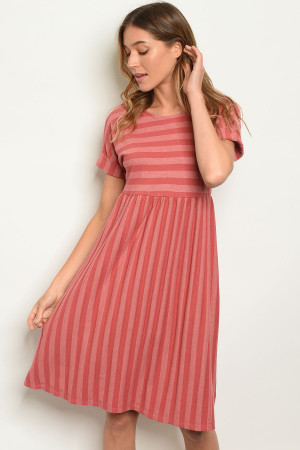 C72-A-6-D3655 MAUVE STRIPES DRESS 2-2-2-1